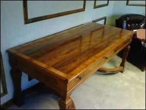 Walnut Desk With Burl Veneer1 by - Wall Woodworks Co
