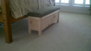Bedside Sitting Bench Made of Knotty Pine 3 by - Wall Woodworks Co.