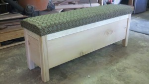 Bedside Sitting Bench Made of Knotty Pine by - Wall Woodworks Co.