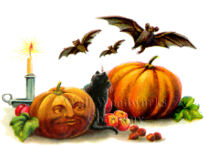 Wood Jigsaw Puzzle Pumpkin, Bats, and a Cat by - Wall Woodworks Co