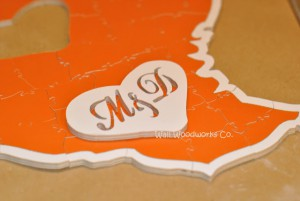 Wedding Guest Book Puzzle Shaped Like Texas 2 by - Wall Woodworks Company