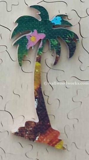 Palm Tree wood jigsaw puzzle piece