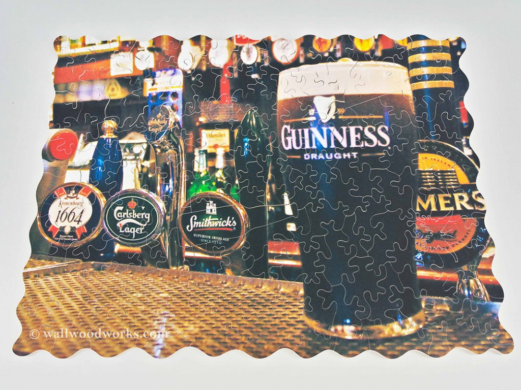 Guinness Beer Custom Wood Puzzle Back Showing a Wrench, Butterfly Low