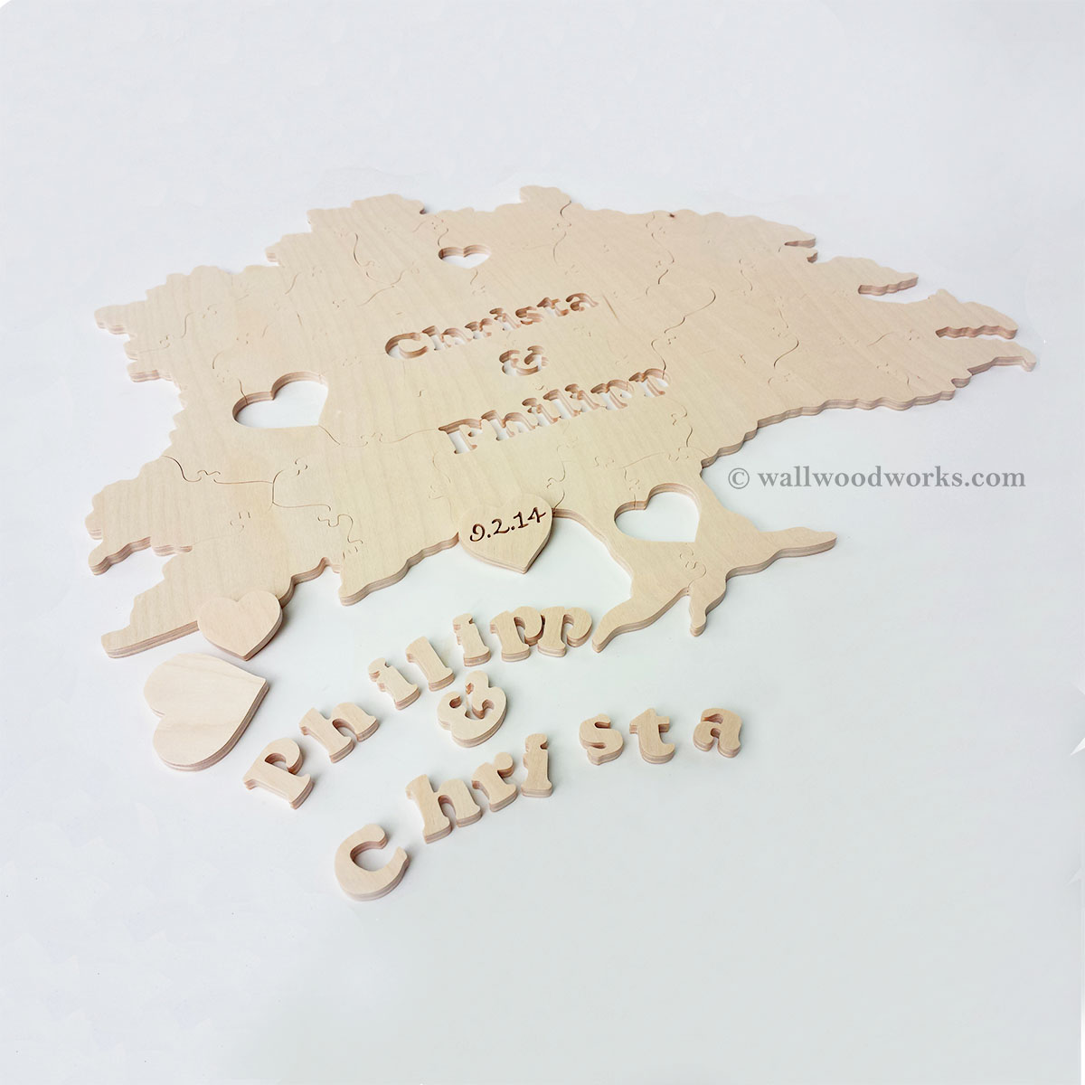 Tree Wedding Guest Book Puzzle Wall Woodworks Company