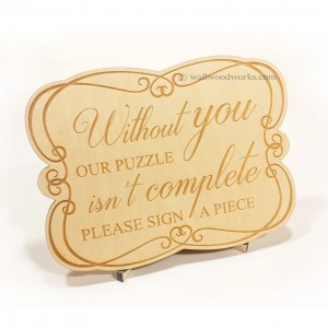 Wedding Guest Book Puzzle Engraved Sign - Wall Woodworks Company
