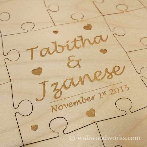 Engraved Hearts Wedding Puzzle - Wall Woodworks Company