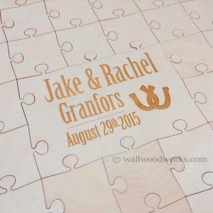 Southern Wedding Guest Book Puzzle - Horse shoe - Wall Woodworks Company