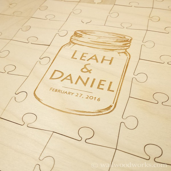 Mason Jar Wedding Guest Book Puzzle - Wall Woodworks Co