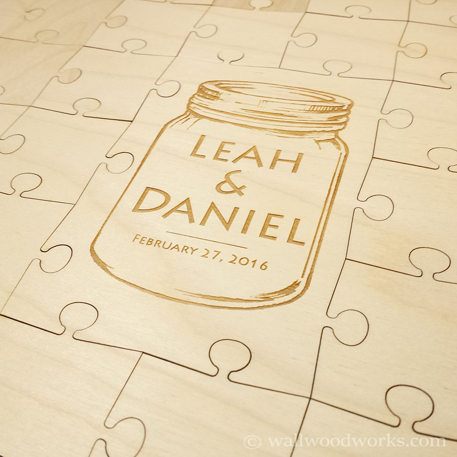 Mason Jar Wedding Guest Book Puzzle - Wall Woodworks Company