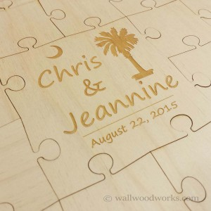 Palm Tree Wedding Guestbook Puzzle - Wall Woodworks Company