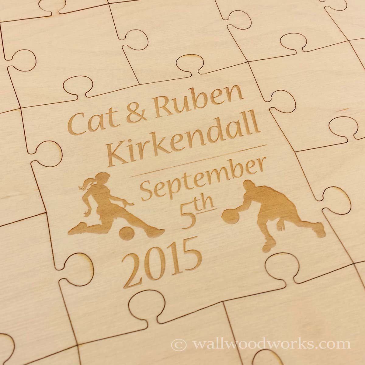 Sports Wedding Guest Book Puzzle - Wall Woodworks Company