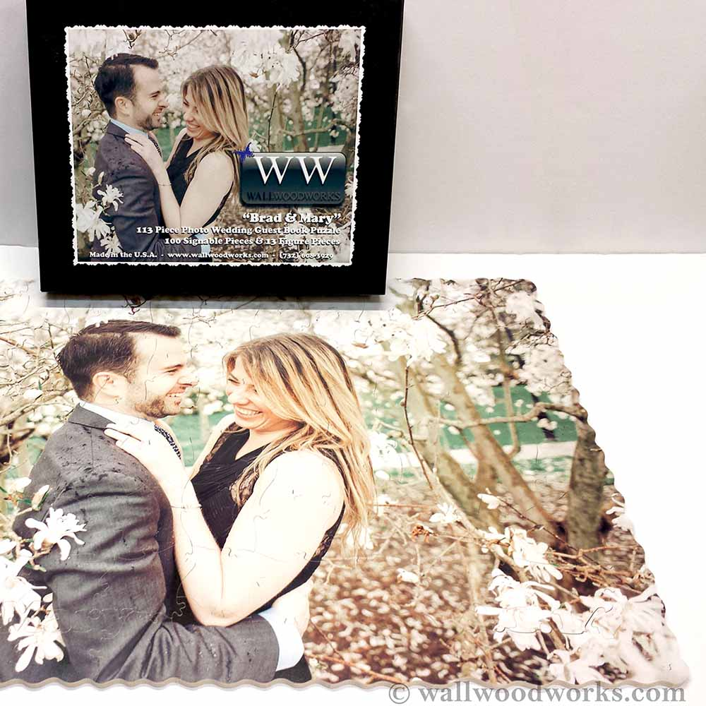 Wedding guest book photo puzzle wall woodworks company for Photo wedding guest book
