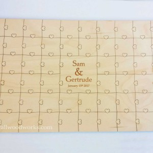 Engraved-Hearts-Wedding-Gust-Book-Puzzle-with-Boarder - Wall Woodworks Company