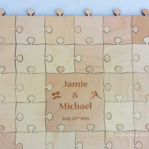 Wedding Guest Book Puzzle Engraved With Knobs - Wall Woodworks Company