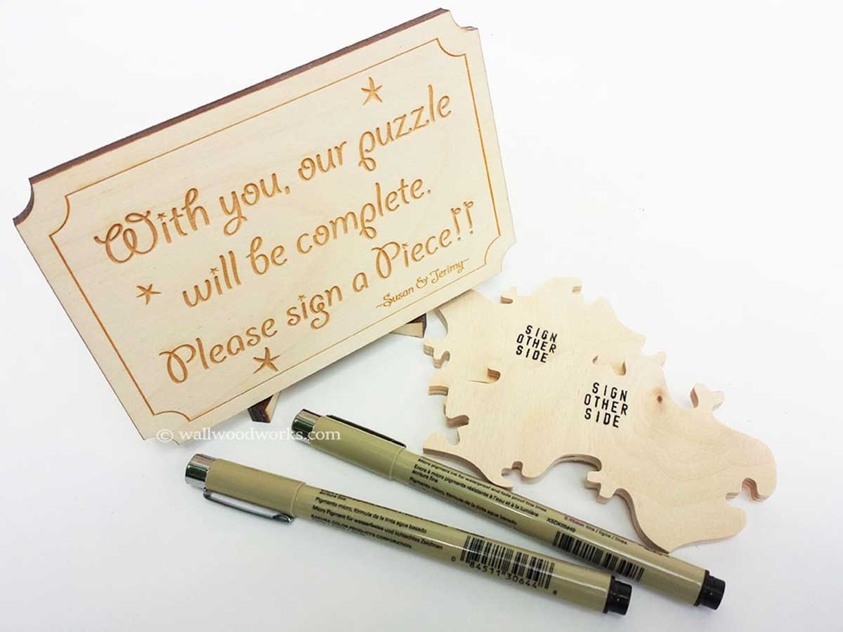 wedding puzzle guest book handmade stamped pieces wall woodworks