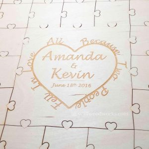 Heart With Text Wedding Guest Book Puzzle