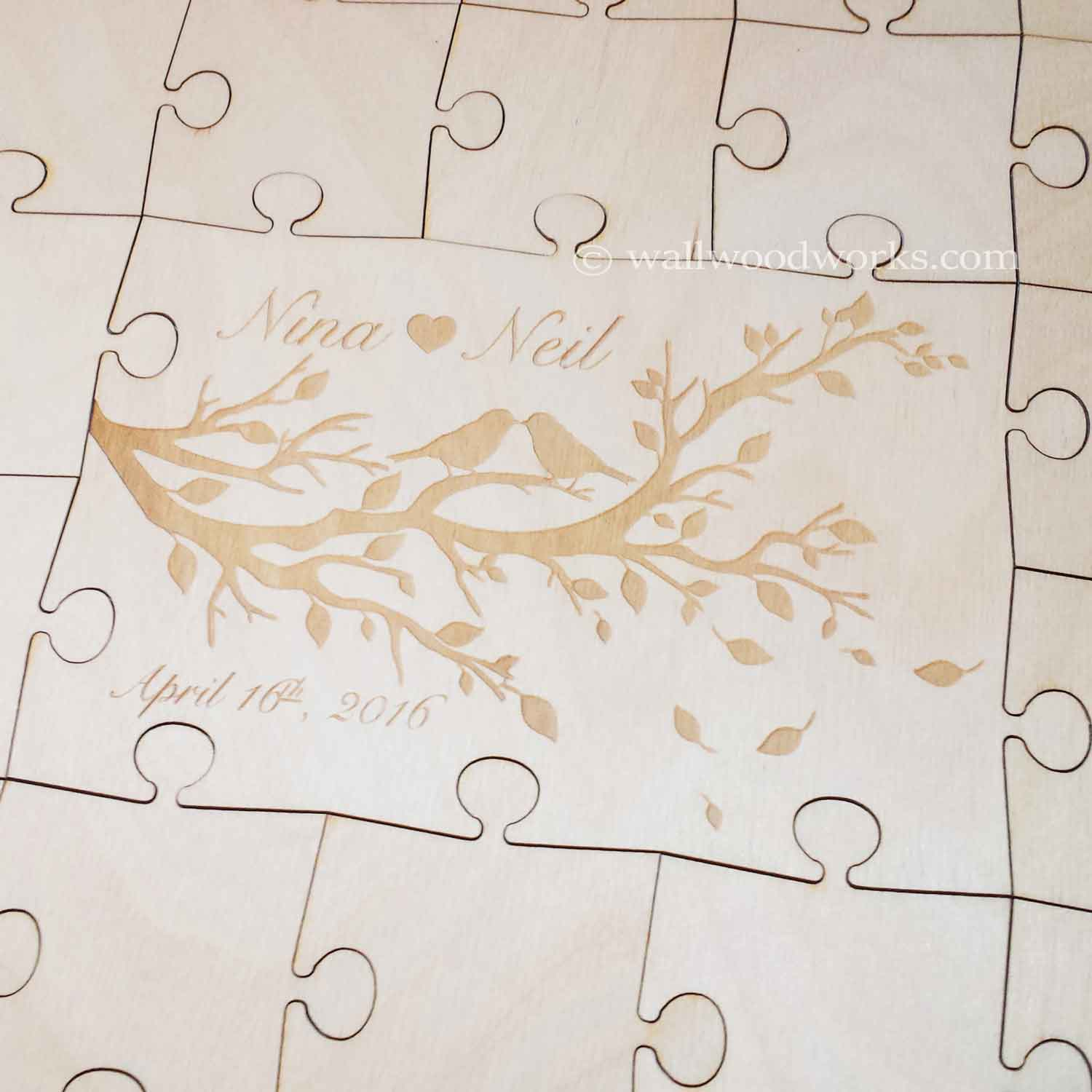 lovebirds wedding guest book puzzle wall woodworks company
