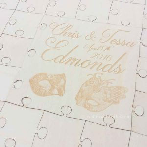 masquerade ball wedding guest book puzzle