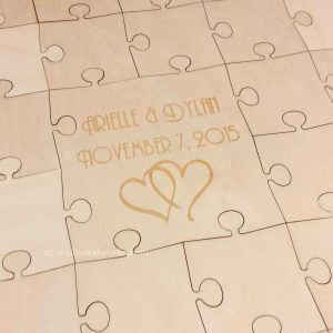 Linked Hearts Wedding Guest Book Puzzle