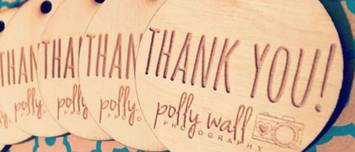 Engraved Thank You Tags - Wooden Circles