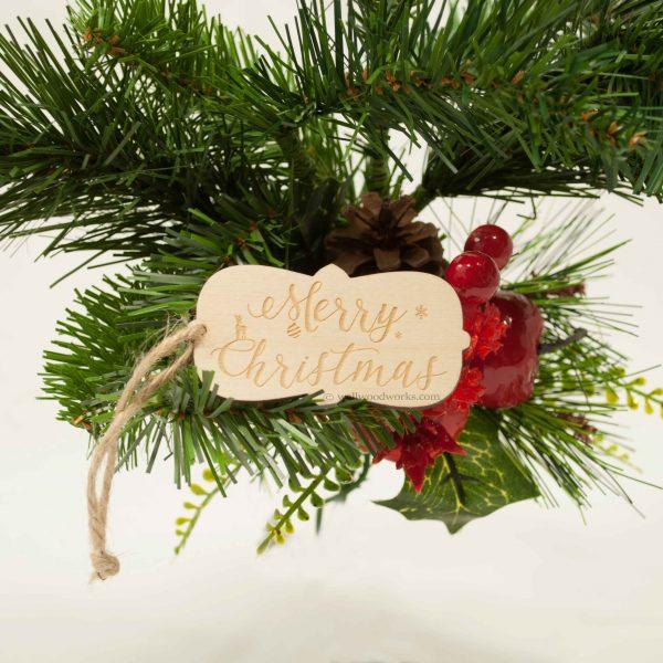Wood Gift Tag - Merry Christmas