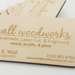 Engraved Business cards made of a wood.